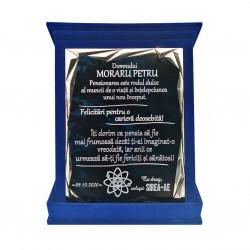 Plachetă Albastra Personalizată în Cutie de Catifea