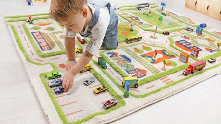 Covor pentru Copii 3D Trafic in Oras Verde 134x180cm