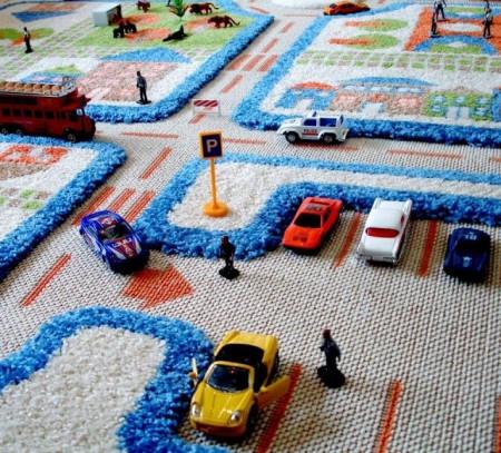 Covor pentru copii 3D Trafic in Oras Albastru 80x100cm