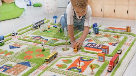 Covor pentru Copii 3D Trafic in Oras Verde 100x150cm