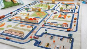Covor pentru Copii 3D Trafic in Oras Albastru 160x230cm