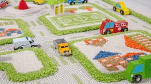 Covor pentru copii 3D interactiv Traficul orasului verde 80x113cm