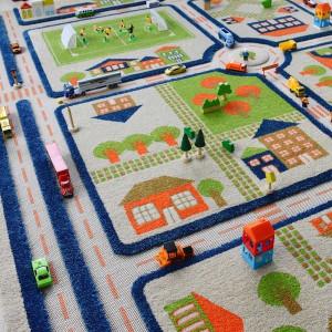 Covor pentru Copii 3D Trafic in Oras Albastru 134x180cm