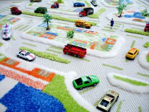 Covor pentru Copii 3D Orasul la mare 100x100cm