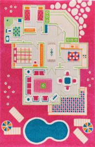 Covor pentru Copii 3D Casa Papusii 100x200cm