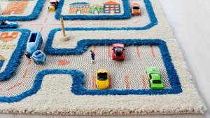 Covor pentru Copii 3D  Trafic in Oras Albastru 100x150cm