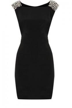 Crna dnevna haljina sa cirkonima