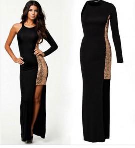 Duga crna haljina sa zlatnim diskicima