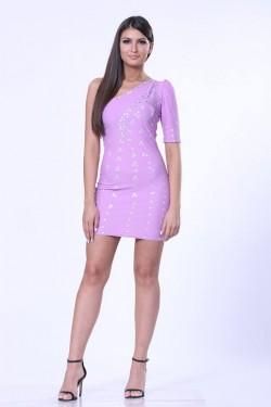 Lila haljina na jedno rame sa cirkonima