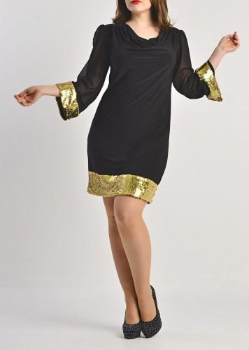 Svecane haljine za punije zene sa sljokicama na manzetnama