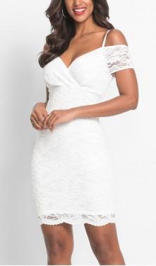Bela cipkasta haljina sa tankim bretelicama