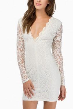 Bela cipkasta haljina sa v - izrezom