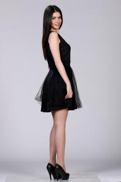 Crna haljina od tila i cipke