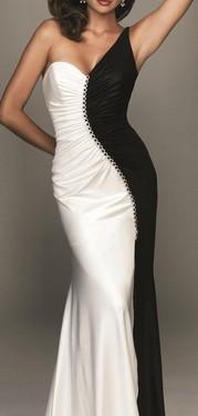 Crno-bela duga haljina