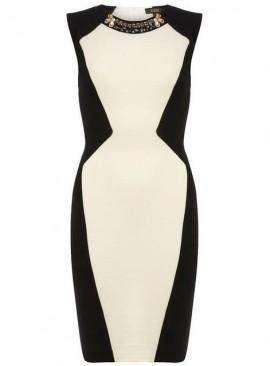 Crno bela neobicna haljina za punije dame