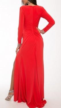 Duga crvena haljina na preklop