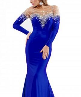 Duga kraljevska plava haljina sa cirkonima