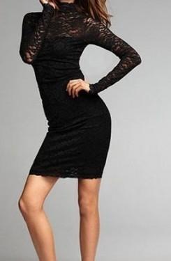 Crna cipkasta haljina sa uvrtanjem