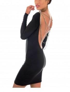 Crna haljina sa lancima i dugim rukavima