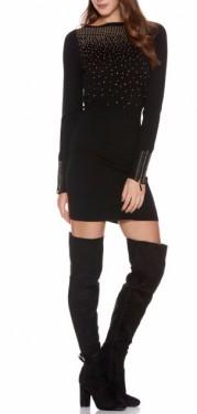 Crna neobicna haljina sa rasutim cirkonima