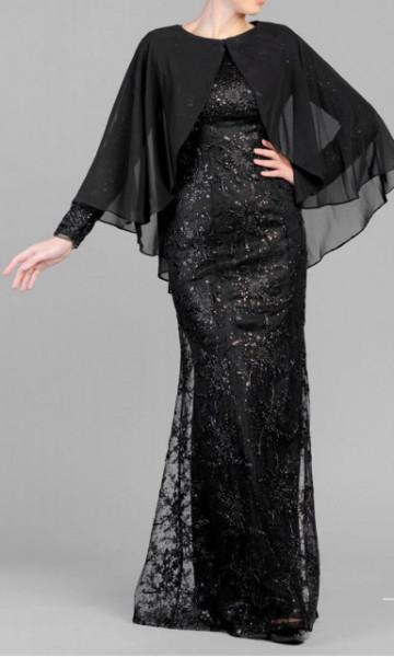 Crna svecana haljina sa muslinom