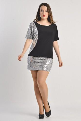 Crno srebrna svečana haljina za punije žene
