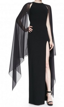 Duga crna haljina sa rukavima od muslina