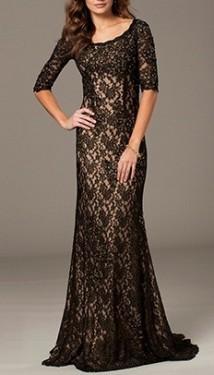 Duga crno bez cipkatsa haljina