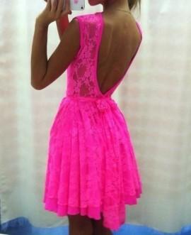 Pink cipkasta haljina