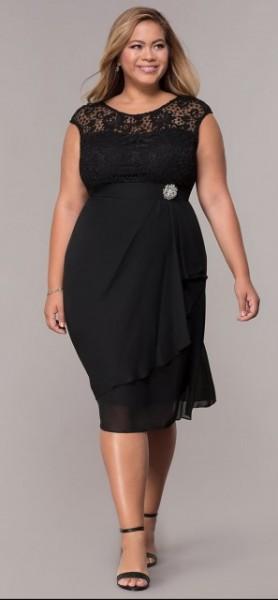 Crna svečana haljina sa brošem