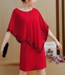 Crvena i crna haljina sa štrasom
