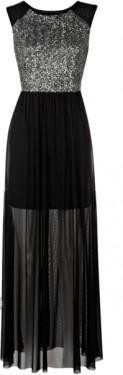 Duga crna haljina sa tilom i detaljima srebrnih diskića