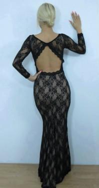 Duga crno bez haljina sa cipkom