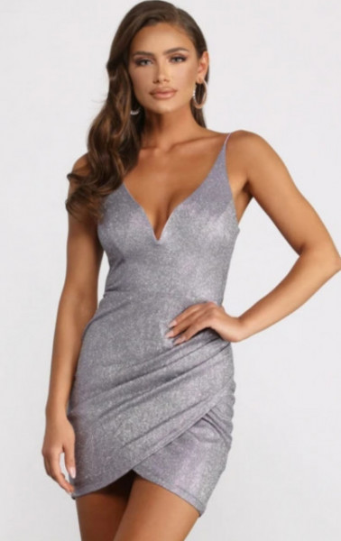 Sivo srebrna haljina na preklop