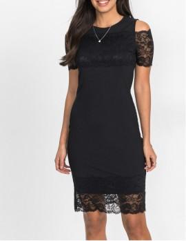Crna cipkasta haljina sa cipkicama