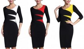 Crna haljina sa neobicnim trouglastim detaljima