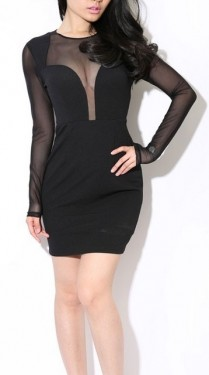 Crna neobicna haljina sa detaljima mrezice