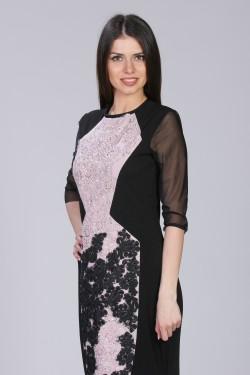 Duga haljina sa roze i crnom cipkom od cirkona