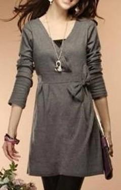 Siva haljina na preklop sa masnom