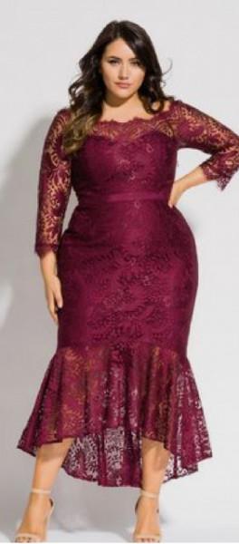 Bordo svecana haljina za punije dame