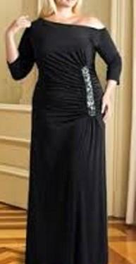 Crna duga haljina sa cirkonima na jednoj strani