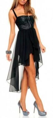 Crna haljina sa srebrnim diskicima i mrezicom