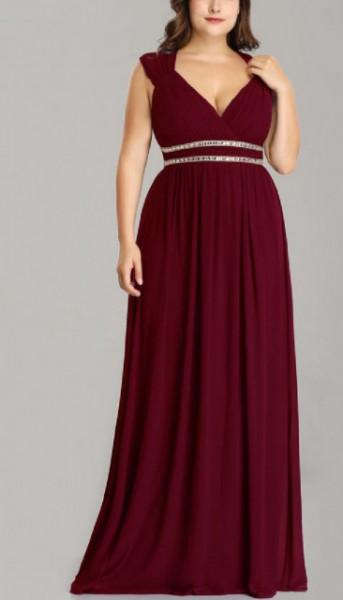 Duga bordo haljina sa cirkonima za punije dame