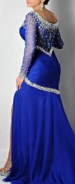 Duga kraljevsko plava haljina sa cirkonima