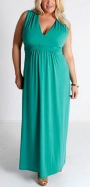 Duga tirkizna haljina sa naborima