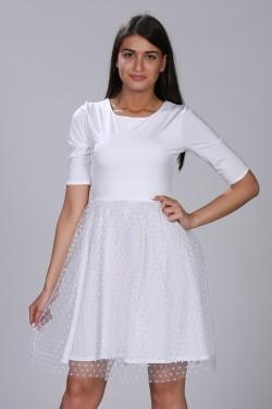 Bela haljina sa tufnicama
