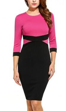 Crna haljina sa pink detaljima