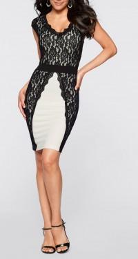 Crno bela haljina sa crnom  cipkom