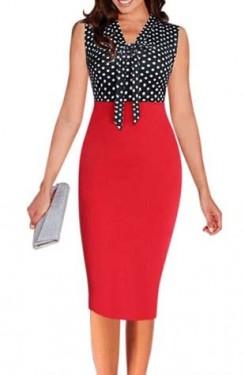 Dnevna crvena haljina sa tufnicama