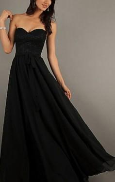 Duga crna haljina od čipke i muslina
